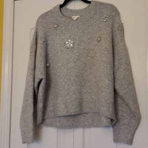 H&M grey star studded sweater